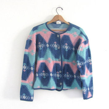 vintage blanket fleece jacket. southwestern print coat. tribal fleece. size women's M