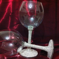 Custom designed pair of wine glasses with rhinestones by Arzu's Style