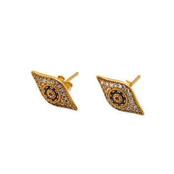 Gold Evil Eye Earring With CZs