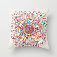 Sunflower Mandala Throw Pillow by Janet Broxon