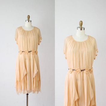 1920's Nude Silk Rosette Wedding Dress - S