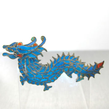 Antique Chinese Kingfisher Feather Dragon Brooch, Antique 1800s Chinese Qing Dynasty Kingfisher Feather Jewelry, Vintage Dragon Brooch