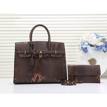 Hermes Fashion Women Shopping Leather Clutch Bag Handbag Tote Shoulder Bag Set Two Piece Coffee