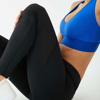 Active Raw-Cut Perforated-Panel Leggings