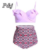 P&j High Waist Swimwear Women Plus Size Vintage Two Piece Swimsuit Tankini Striped Tankini With Shorts Sport Bathing Suits Beach