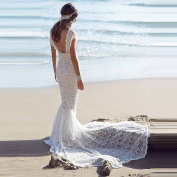 Luxury Beading Lace Summer Beach Wedding Dress Custom Made Short Sleeve Backless Mermaid Gown