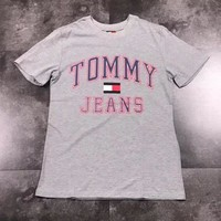 TOMMY JEANS Trending Casual Print Short Sleeve T-Shirt Top Grey