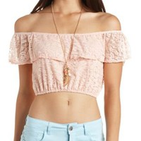 Off-the-Shoulder Ruffle Lace Crop Top by Charlotte Russe