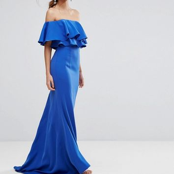 Jarlo Off Shoulder Maxi Dress With Frill Top at asos.com
