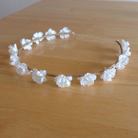 White Flower Bud Floral Crown