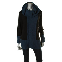 Style & Co. Womens Colorblock Cowl Neck Pullover Sweater