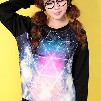 Argyle Geometry Universe Print Galaxy Sweatshirt with Raglan Sleeve,Hoodie,Sweatshirt,american apparel,