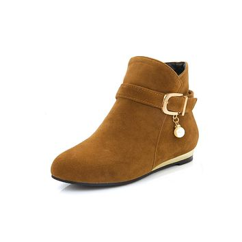 Casual Buckle Flats Ankle Boots for Women 7805