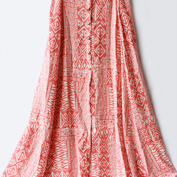 Sienna maxi Skirt in lightweight cotton rayon coral/ Cream tribal print with brass button up front