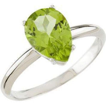 14K White Gold Peridot Solitaire Ring