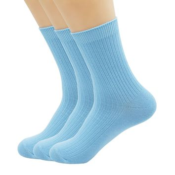 Fashion Woman Cotton Socks Double Needle Vertical Stripes Candy Color Female Socks D007 (3 Pairs)