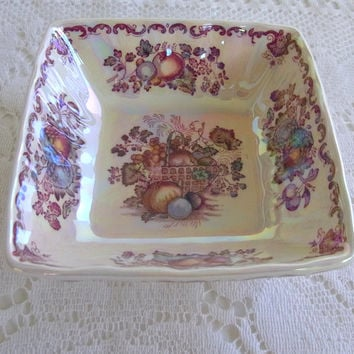 Mason's Ironstone Multi Color Pearl Lustre Fruit Basket Small Dish Collectible Ironstone Transferware