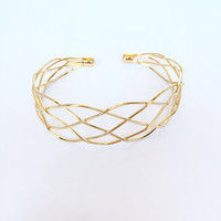 Cross Path Bangle Bracelet In Gold
