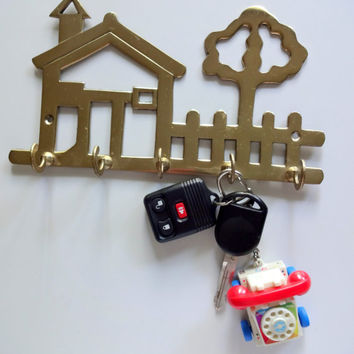 Vintage Brass House Key Holder 1980s