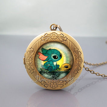 Stitch and Turtle Photo Locket Necklace,Lilo and Stitch Swimming Stitch,vintage pendant Locket Necklace