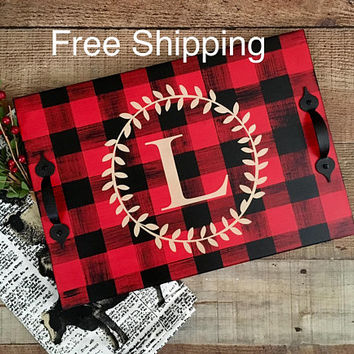 Buffalo Plaid  Decor,Buffalo Check Decor,Serving Tray,Ottoman Tray,Coffee Tray,Wood Serving Tray,Buffalo Check Home,Buffalo Check Christmas