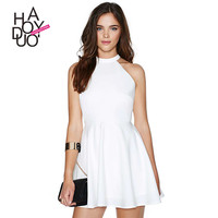 Haoduoyi Womens 2016 Summer Party White Girl Mini Dress Casual plus size A-Line  Sexy Backless Short Dresses