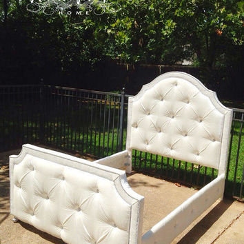 Headboard Tufted Bed Queen California King Full Twin Velvet Diamond Tufted Silver Gray White Crystal Bed MADE TO ORDER