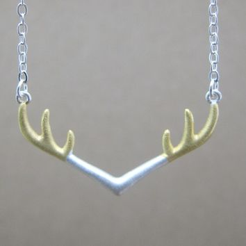 Fashionable Simple Two-color Antlers 925 Sterling Silver Necklace