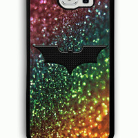 Samsung Galaxy S6 Case - Rubber (TPU) Cover with Rainbow gLitter with Batman logo Rubber case Design