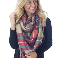 Cuddle Me by the Fire- Beige/Red Blanket Scarf
