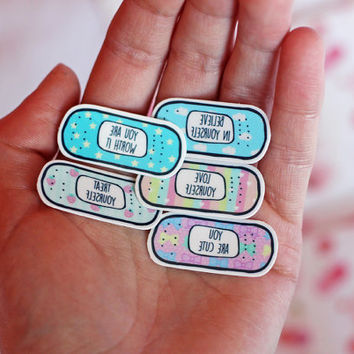 Motivational Band-Aid Tattoos ~ Stocking stuffer ~ Cute Pastel Edition ~ Temporary Tattoo Pack ~ Self Care ~ Self Love ~