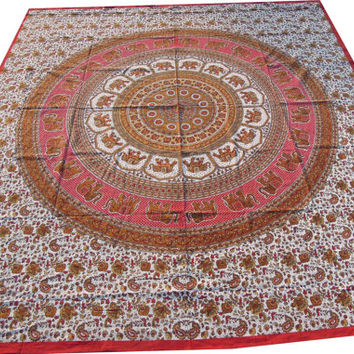 Hippie Hippy Wall Hanging , Indian Elephant Mandala Tapestry Throw Bedspread Queen Bed Decor Sheet Ethnic Decorative Art