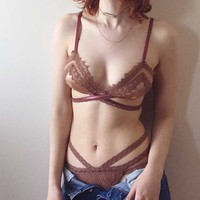 Claire Lace Wrap-around Bralette in Rose Petal