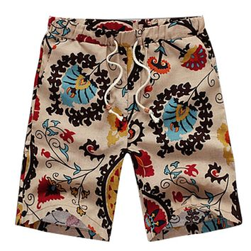 SYB 2016 NEW Classic Flower Print Design Men's Shorts Linen Breathable Fast Dry Men Casual Beach Shorts Mens Boardshorts-F