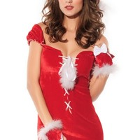 Sexy Santa Claus Costume Outfit Lace-up Dress Set