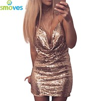 Smoves Front Draped Backless Halter Sparkle Women's Sequin Dress Shinny Mini Party Dresses Sleeveless Sexy Show Club Wear New