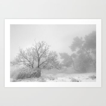 """""""Into the snowy forest"""". Foggy mountains Art Print by Guido Montañés"""