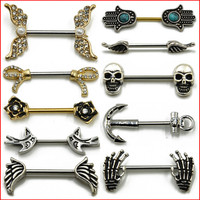 1 Pair 316L Surgical Steel Barbell Piercing Skull Anchor Wing Hand Nipple Shield