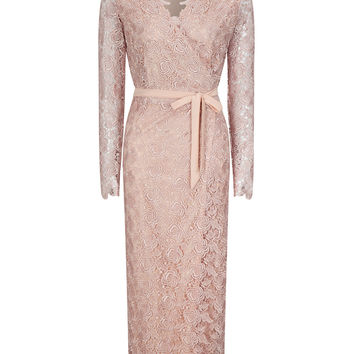 Pink Guipure Lace Overlay Long Sleeve Side Split Maxi Dress