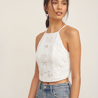 Applique Lace Crop Top