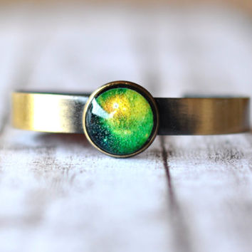 Adjustable Green Galaxy Bangle Bracelet - Resin Jewelry - Space Jewelry - Antique Brass Cuff Bracelet