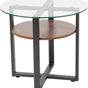 Princeton Collection Glass Side Table with Rustic Oak Wood Finish and Black Metal Legs