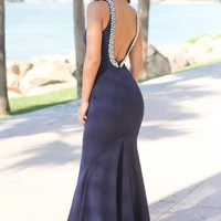 Navy Maxi Dress with Open Back and Pearl Detail