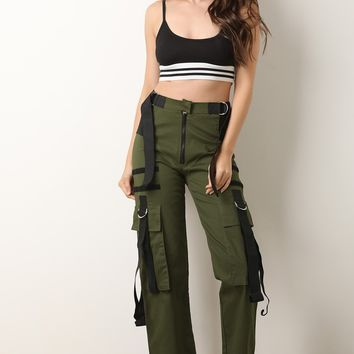 D-Ring Buckled Strap Accent Cargo Pants