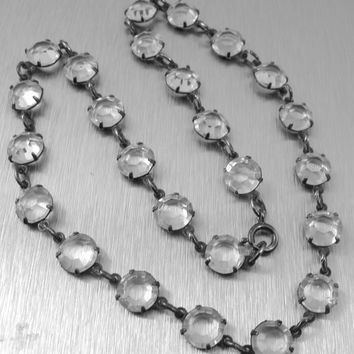 Art Deco Necklace, Clear Open Back Crystals, Vintage 1930s Czech Glass Jewelry, Bridal Wedding Necklace