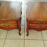 Vintage French Provincial Side Tables / Night Stands by Broyhill