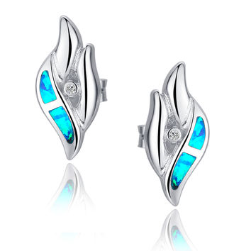 Sterling Silver Vertical Eye Shape W. Blue and Green Fire Opal Stud Earrings