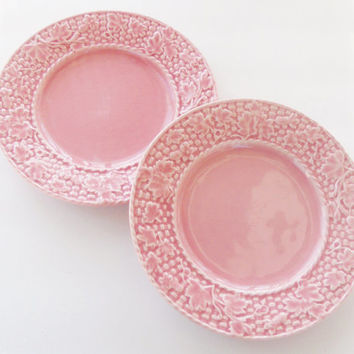 Vintage Bordallo Pinheiro Majolica Pink Salad Plates, Set of 2, Earthenware, Cottage Style, Weddings, Tea Party, Portugal, Art Pottery
