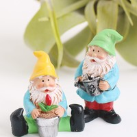 "Pack of 2 Mini Fairy Garden Gnome Figurines - 1-1.5"" Tall"