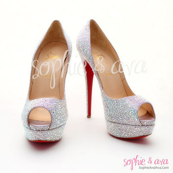 Christian Louboutin Lady Peep Strass - Strassing Service (Specializing in Christian Louboutin) Sophie & Ava